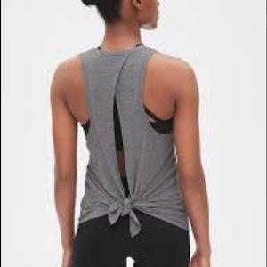 Gap fit grey back tie workout tank